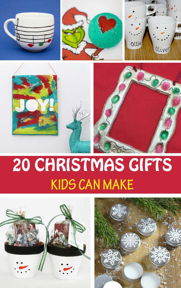 Christmas gifts kids can make: fingerprint gifts, spa gifts, art gifts, treats. Easy gift ideas for preschoolers, kindergartners and older kids to make for their grandparents, teachers, bus drivers, babysitter or classmates.