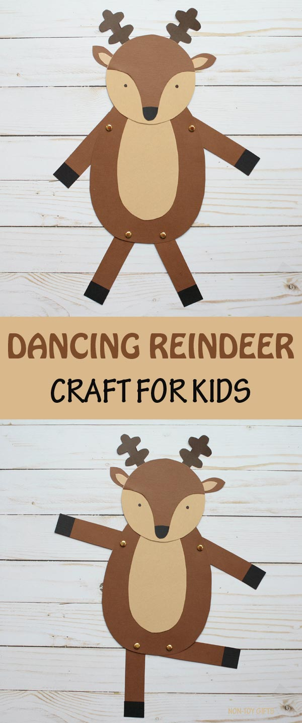 Dancing reindeer craft for kids. Easy paper Christmas craft for preschoolers, kindergartners and older kids #reindeer #Christmascraft