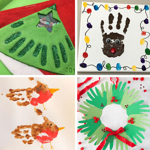 Handprint Christmas crafts for kids 2