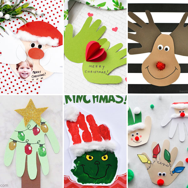 Handprint Christmas crafts - cards for kids