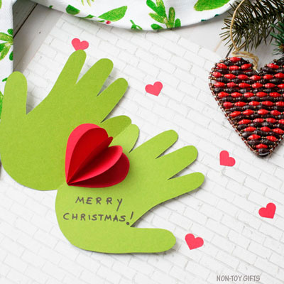 Handprint Grinch card