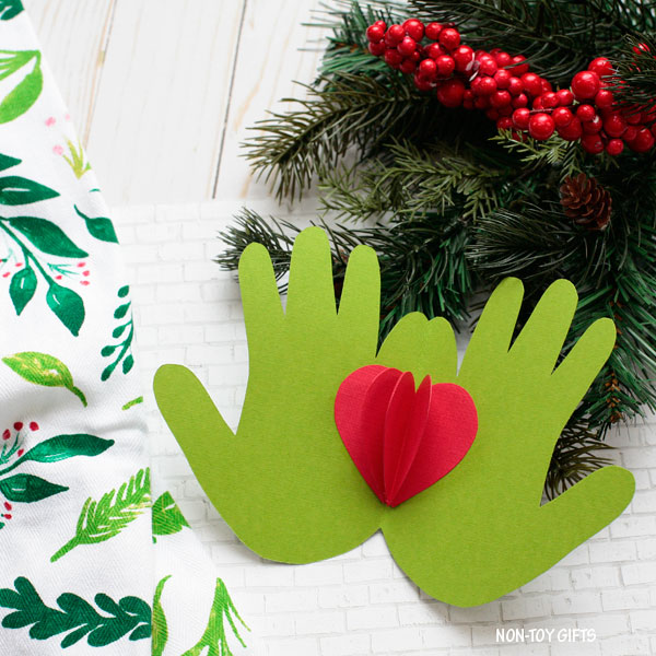 Handprint Grinch card for kids to make this holiday