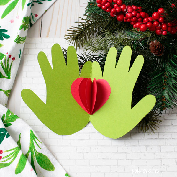 Handprint Grinch craft for kids