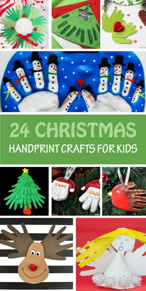 Christmas handprint crafts for kids: cards, ornaments, keepsake, wreath and more. Make Santa, reindeer, Christmas tree, elves, Grinch, snowmen and robins. Great Christmas crafts for toddlers, preschoolers and older kids #handprint #Christmas