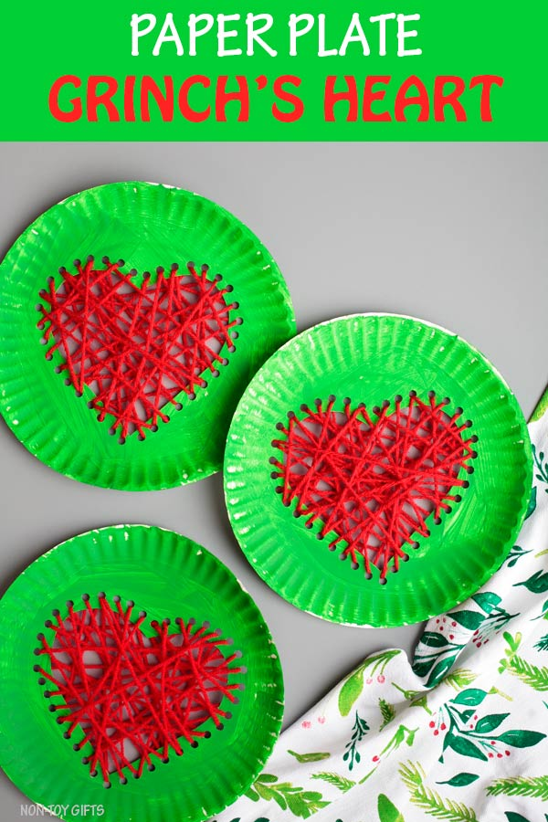 Paper plate Grinch's heart craft for kids. Easy paper plate and yarn Christmas craft for kids #Grinch #Christmascraft