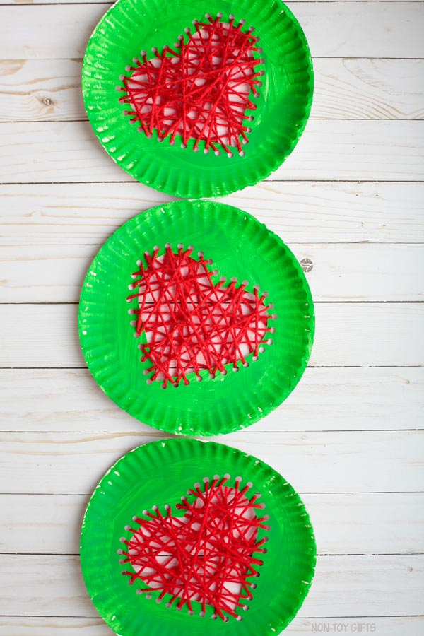 Paper plate Grinch's heart craft for kids