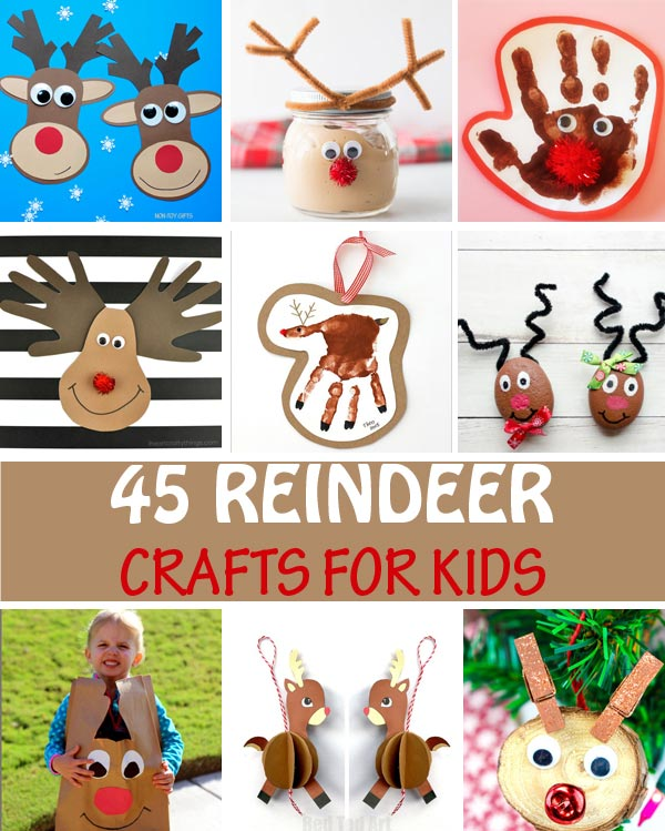 Reindeer crafts for kids: paper crafts, ornaments, handprints, cards and more. #reindeer #Christmascraft