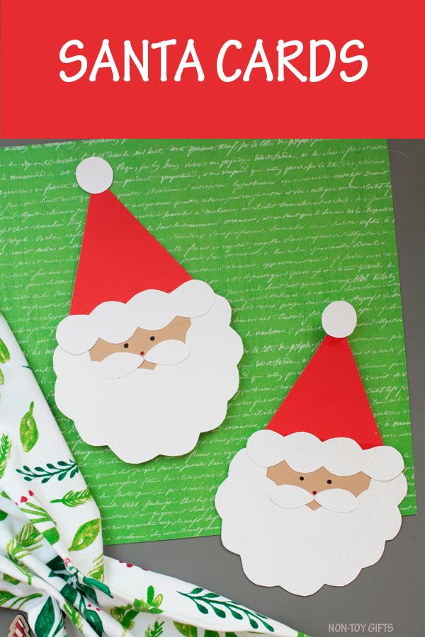 Easy handmade Santa card for kids to make. Great for kindergartners and older kids. Make a Christmas card for teachers, grandparents, bus drivers or babysitter. #Santa #ChristmasCard