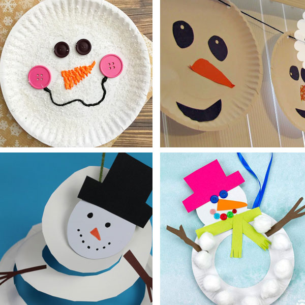 Paper plate winter crafts : snowman