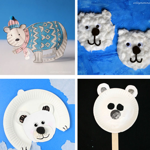 Paper plate winter crafts: polar bear