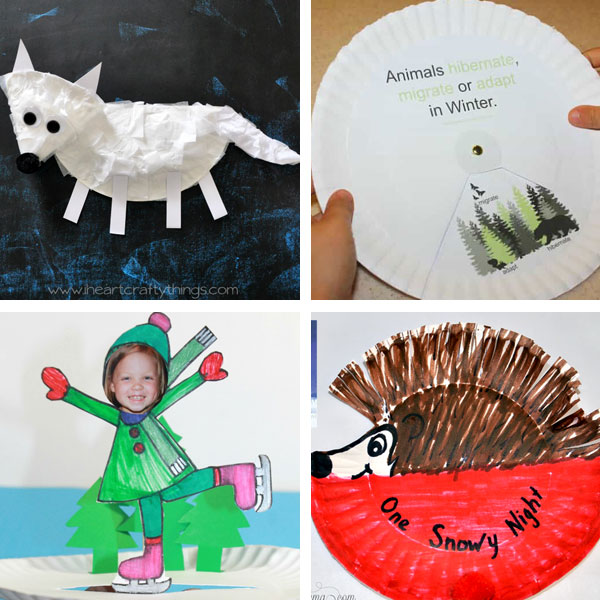 Paper plate winter crafts: arctic fox, skating and hibernation