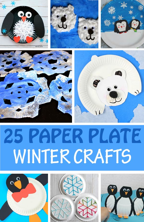 Paper plate winter crafts for kids: polar bear, snowflake, snowman, penguin, Arctic fox craft ideas for preschoolers and older kids. #wintercraft #penguin #polarbear #snowflake