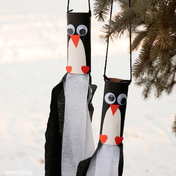 Easy winter craft for kids: penguin winsocks