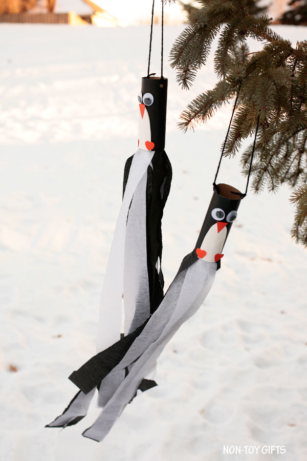 Easy paper roll winter windsocks for kids