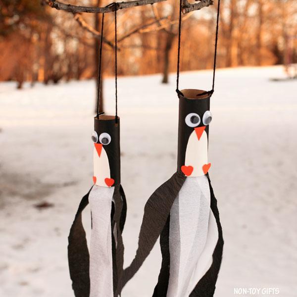 Penguin windsocks for kids