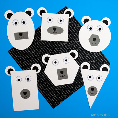 Shape polar bear craft for kids