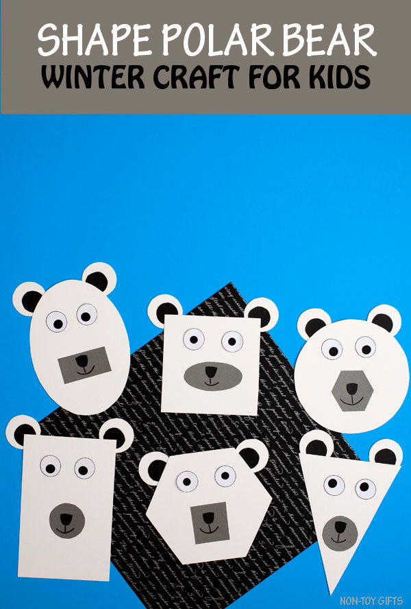 Shape polar bear craft for kids to make this winter. Great for a shape unit. #polarbear #wintercraft