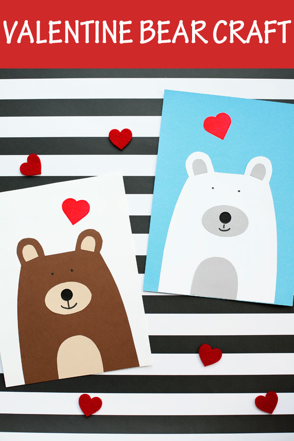 Valentine bear craft for kids. Easy paper Valentine's Day heart bear craft for preschoolers and older kids. #heartbear #bearcraft #valentine #nontoygifts