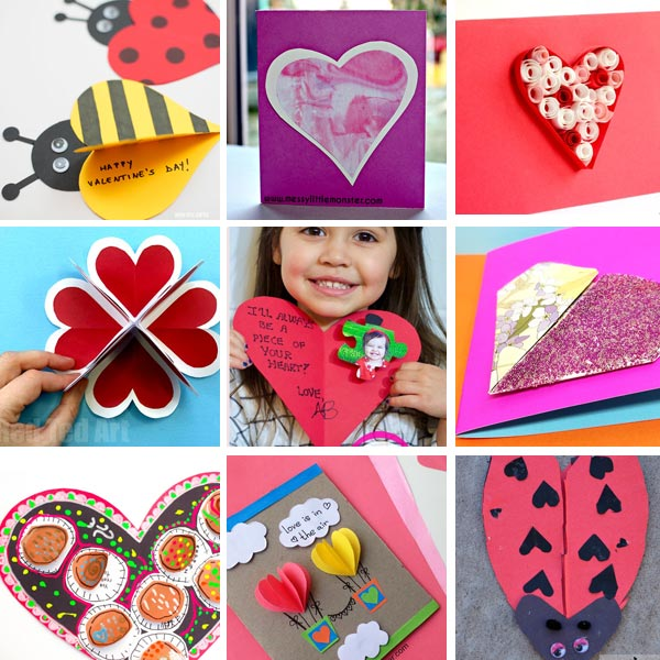 Valentine cards kids can make : heart cards 1