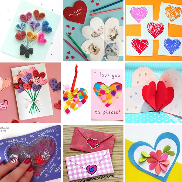 Valentine cards kids can make : heart cards 2