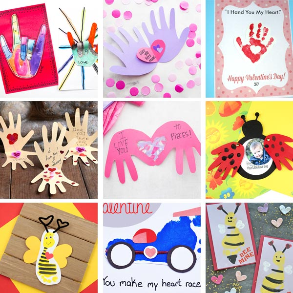 Valentine cards kids can make : handprint and footprint cards