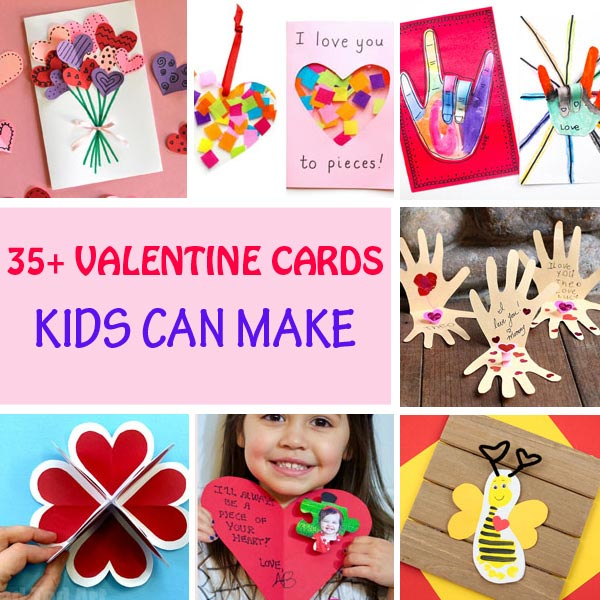 Valentine cards kids can make. Heart, flower, handprint and footprint cards.