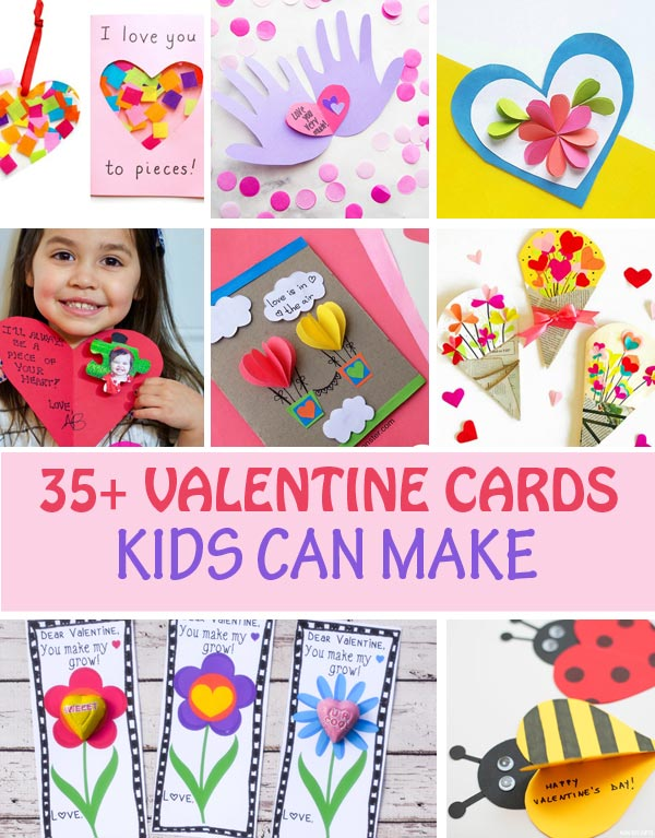 Valentine cards kids can make. Heart, flower, handprint and footprint cards for toddlers, preschoolers, kindergartners and older kids. Easy Valentine's Day handmade cards