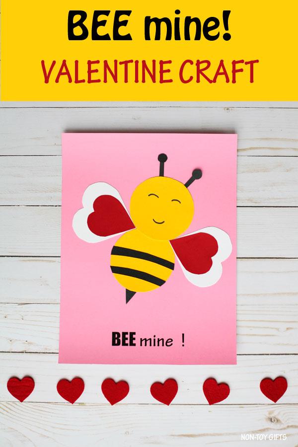 Bee mine! Valentine craft for kids to make this Valentine's Day. Easy paper Valentine bee craft for preschoolers and older kids. #beecraft #valentinecraft #nontoygifts #BeeMine
