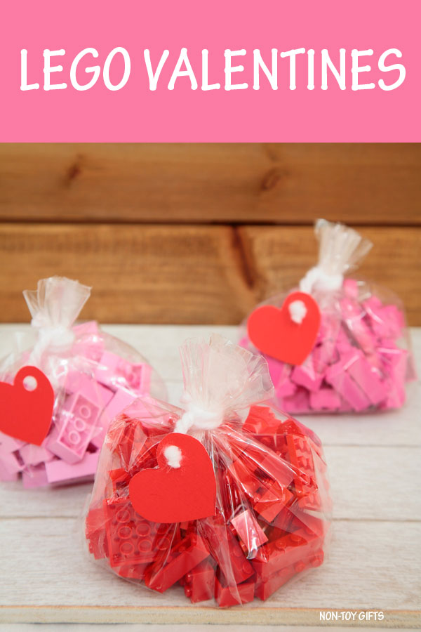LEGO Valentines . Easy non-candy Valentine idea for kids #LEGO #Valentine #nontoygifts