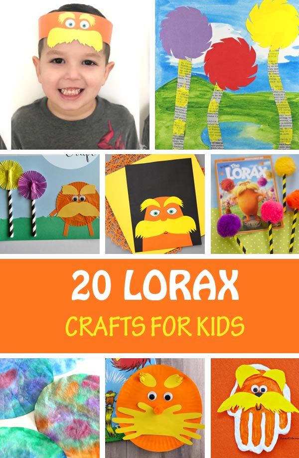 Lorax crafts for kids: cafts made with paper plates, paper rolls, salt dough, cups, paper bags - recycled crafts. Create mug, windsocks, bookmark, Trufulla trees and more. Dr Seuss crafts for classroom or home. #nontoygifts #lorax #drseuss