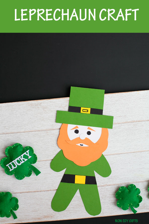 Paper leprechaun craft for kids to make for St Patricks Day. Template available. Classroom craft for preschoolers, kindergartners and older kids #leprechaun #StPatricksDay #nontoygifts