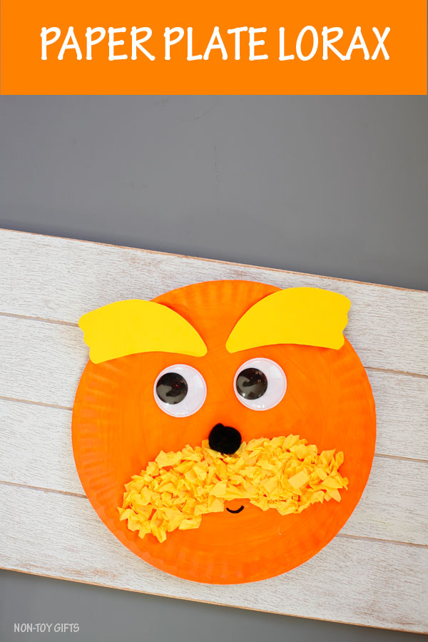 Paper plate Lorax craft for kids to make for Dr Seuss Day #nontoygifts