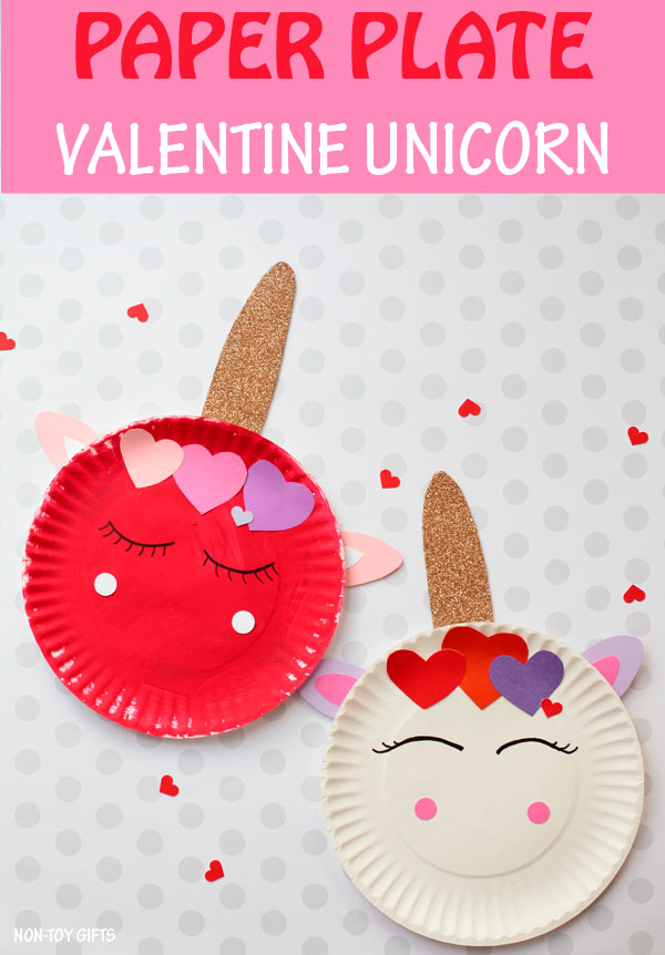 Paper pate Valentine unicorn craft for kids #unicorn #nontoygifts