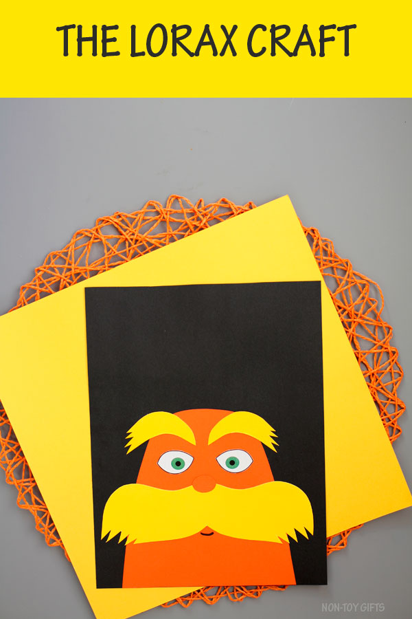 The Lorax craft for kids. Great paper craft for Dr Seuss Day. Template available #nontoygifts