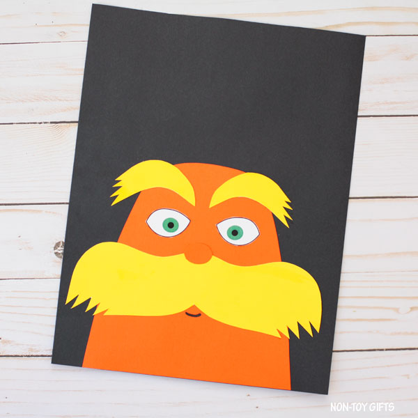 The Lorax craft for kids to make for Dr Seuss Day