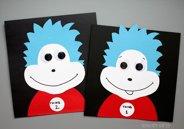 Thing 1 and thing 2 craft. Dr Seuss craft for kids