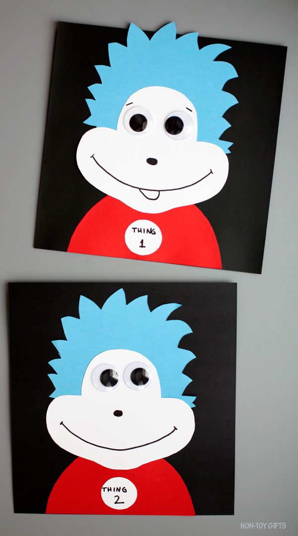 Thing 1 and thing 2 craft for kids. Dr Seuss craft