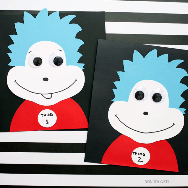 Thing 1 and thing 2 craft for kids
