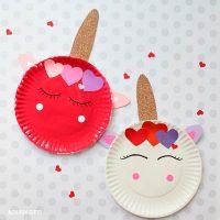 Paper plate Valentine unicorn craft