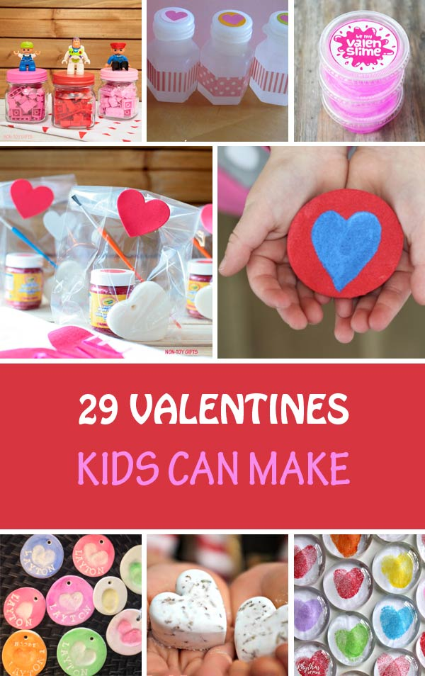 Classroom Valentines kids can make for Valentine's Day: hearts, necklaces, pencil toppers, bubbles, play dough and more #nontoygifts #valentines