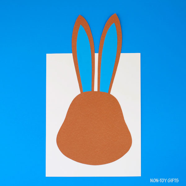 Bunny head on cardstock paper