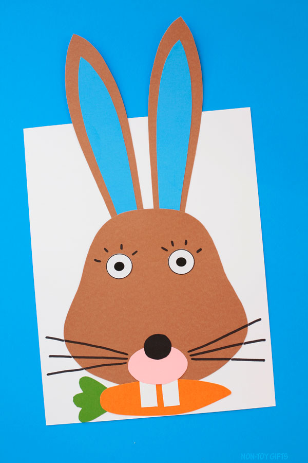 Bunny with carrot craft for kids