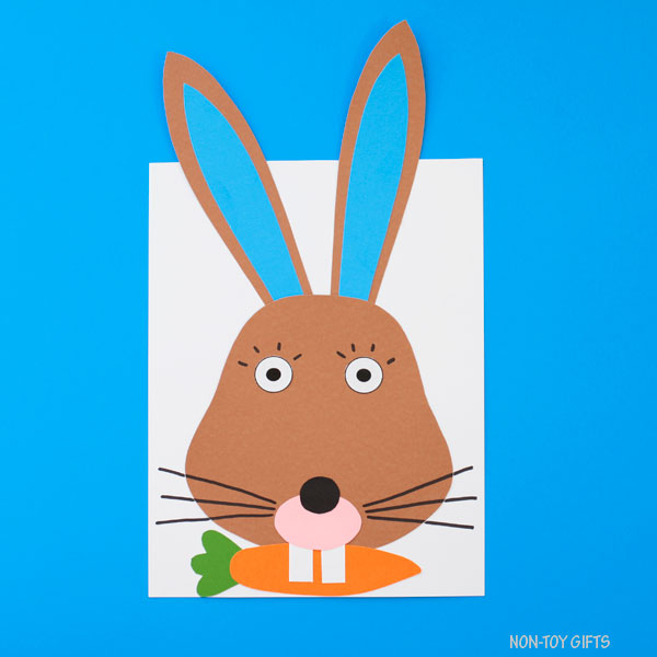 Paper bunny craft with template for kids