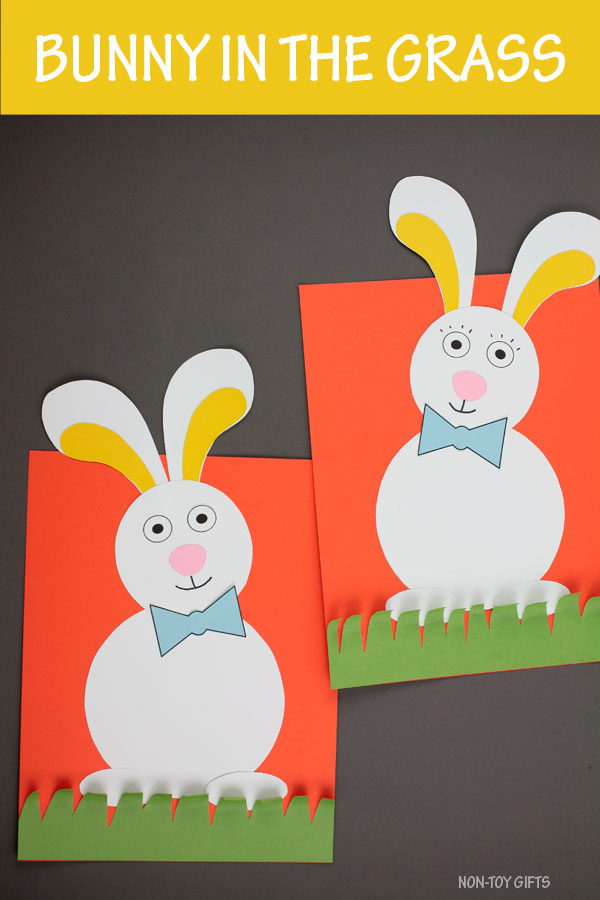 Bunny in the grass craft for kids to make for Easter or to celebrate spring. Easy bunny craft for preschoolers and older kids. #bunnycraft #springcraft #nontoygifts