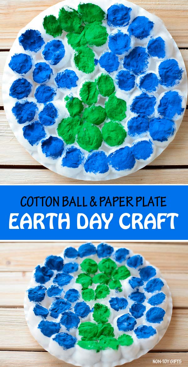 Paper plate and cotton ball Earth Day craft for kids. Great Earth craft for preschoolers and older kids. #earthday #erthdaycraft #nontoygifts #paperplate #cottonballs