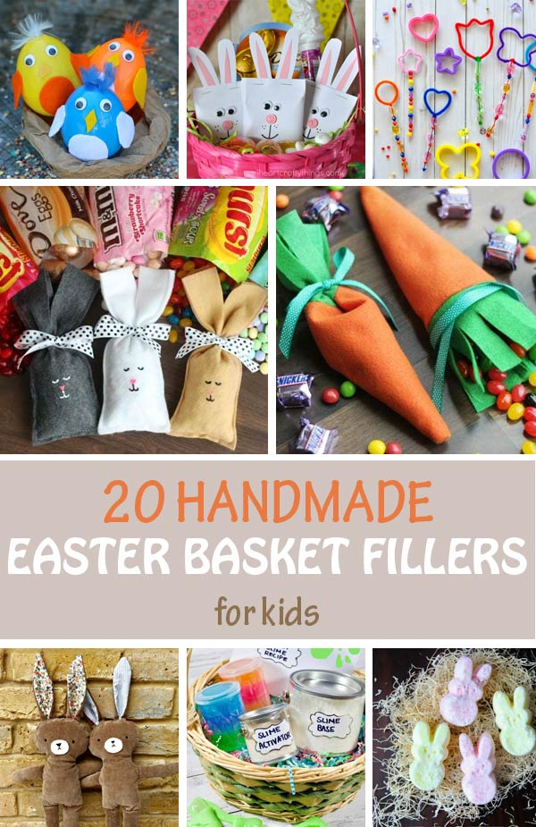 DIY Easter basket fillers for kids. Great handmade Easter basket ideas for preschoolers and older kids. Boys and girls will love the candy and the non-candy options. #easter #nontoygifts #easterbasketkids