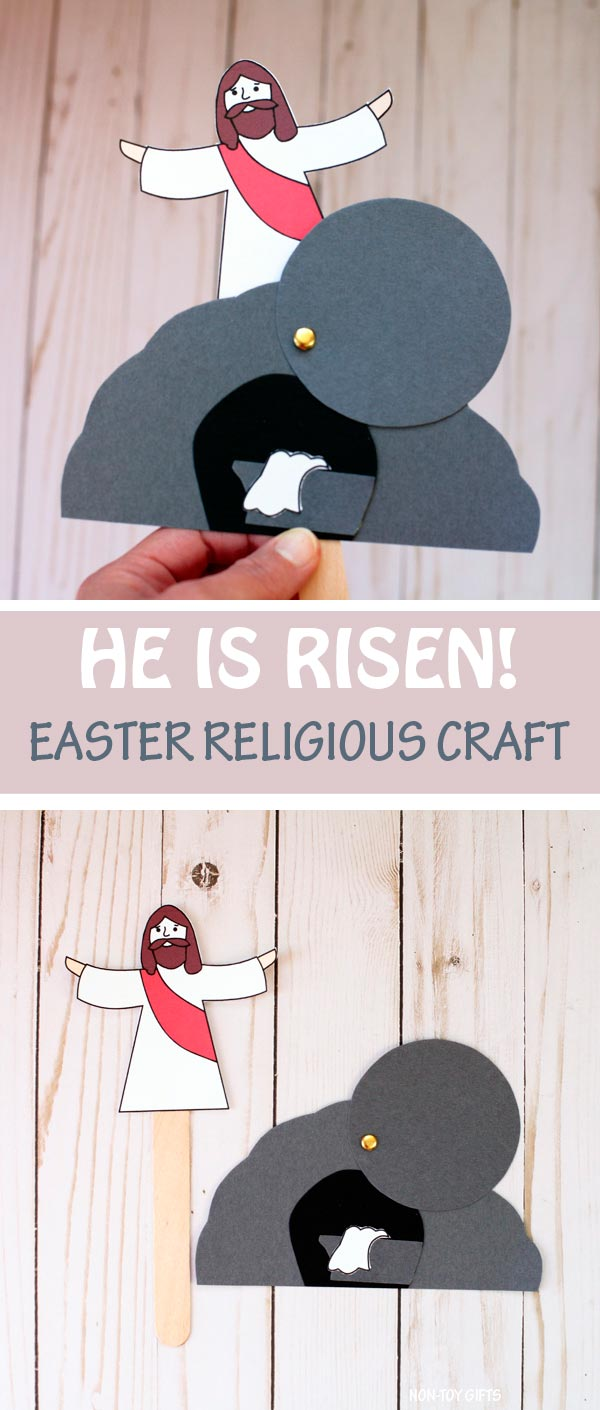 He is Risen craft for kids. Easter Bible craft. Easter religious craft. Easter Sunday School lesson. Jesus is risen! #heisrisen #nontoygifts #sundayschool