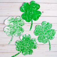 Monoprint four leaf clover