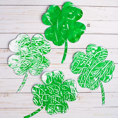Monoprint four leaf clover
