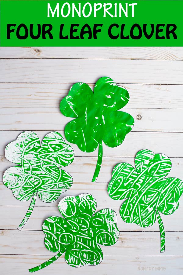 Monoprint four leaf clover craft for kids. Easy St Patrick's Day shamrock craft. Clover art project for toddlers, preschoolers and older kids #shamrock #clover #StPatricksDay #nontoygifts